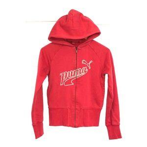PUMA Embroidered Script Zip Up Sweatshirt Hoodie